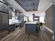 This rendering shows the kitchen of a townhome at Broadway Brownstones.
