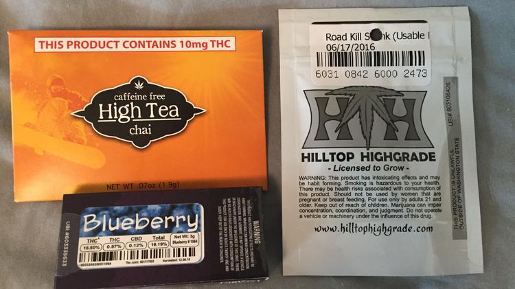 A sampling of legal marijuana products available in Washington state.
