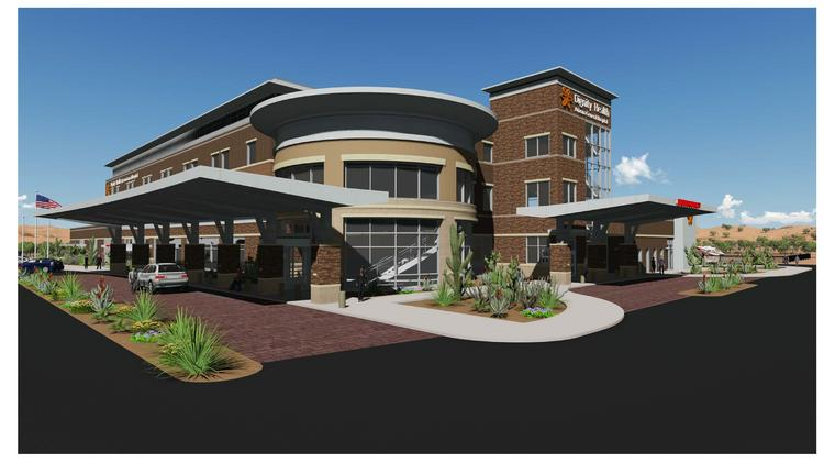 A rendering of the new Arizona General Hospital location in the East Valley.
