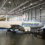Amazon rolls out 'Amazon One,' the first of its fleet of Boeing cargo planes