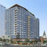 Luxury apartment tower with a Whole Foods now rising at busy Seattle corner
