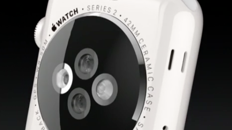 The back of the Apple Watch Series 2, shown here in a new ceramic case.