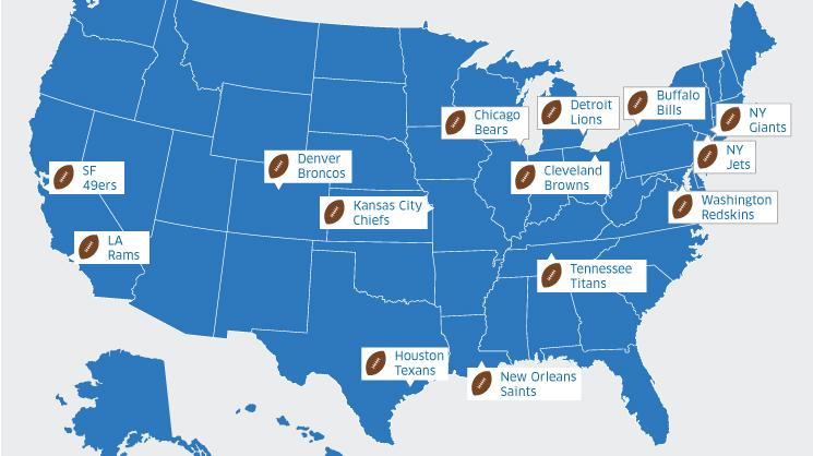 Why United Airlines Has Pigskin Fever In A Big Way This Season - Us-airline-hubs-map