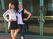 Sherri Barry, founder Arizona Fashion Source (l) and Angela Johnson, founder of LabelHorde (r) at the entrance of the Tempe Fashion Incubator. The two women are the first guest interviewees for the Phoenix chapter of Women Who Startup.