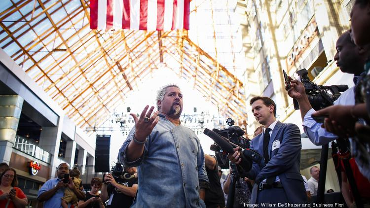 a6be625a50 Guy Fieri addresses the media during one of his stops at restaurants across  the country.