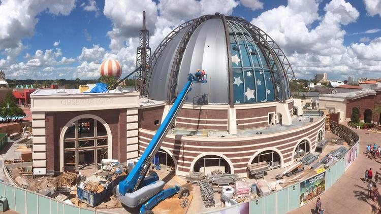 Exterior Renovations At Disney Springs Planet Hollywood Observatory Are Nearing Completion