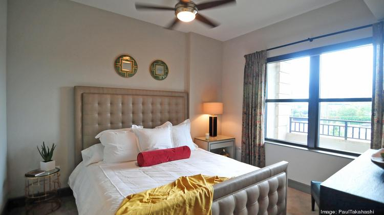 Houston ranked No. 1 nationally for the riskiest apartment market, according to MPF Research. The master bedroom in The Carter model is shown here.
