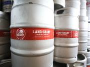 Land-Grant kegs stacked at the brewery.
