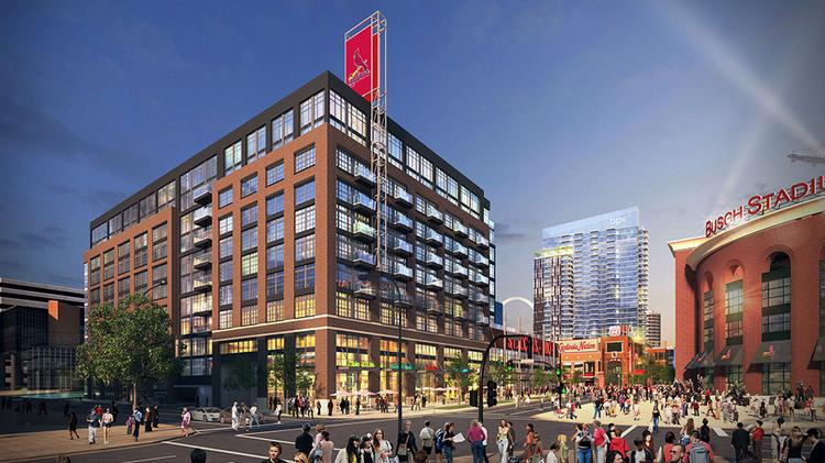 A rendering of the class-A office building on the west end of Ballpark Village Phase II.