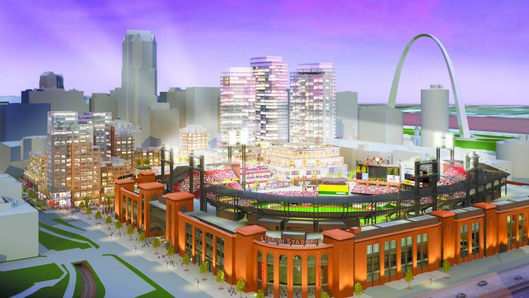 An original rendering of Ballpark Village from 2007.