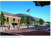 One of the concepts for the new Diridon Station incorporates the existing building plus a glass and steel structure over the boarding platforms.