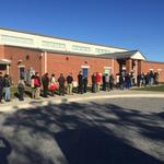 Voting today? The lines are long — and <strong>rather</strong> silent — in Greater Baltimore