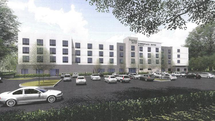 A rendering of the proposed dual-branded TownePlace Suites and Fairfield Inn & Suites near SpringHurst Towne Center.