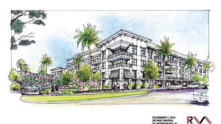 A rendering of Philips Development and Realty LLC's plans for the Skyway Marina District.