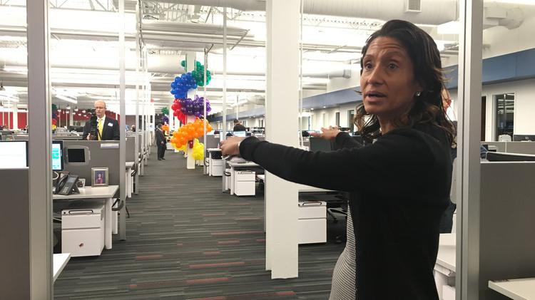 Comcast's Freedom Region Vice President of Workforce Operations Angela Kyler discusses the layout of the new 42,000 square-foot CommOps center in Voorhees.