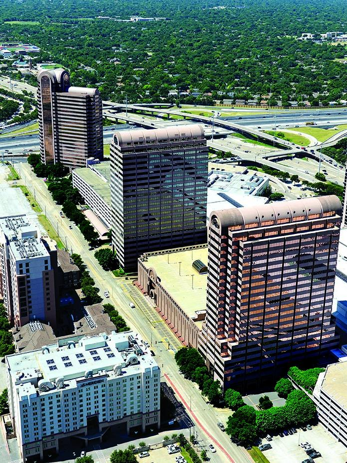 The three North Dallas office towers has undergone $19 million in renovations after being acquired by CBRE Investors last year.