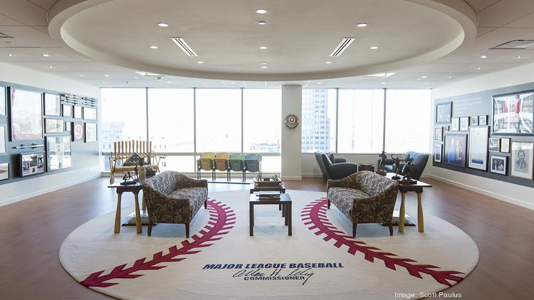 bac3dc14cb4 The lobby of Major League Baseball commissioner emeritus Bud Selig s office  at the 833 building in