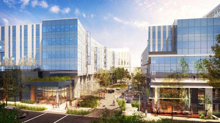 Facebook is leasing these two buildings, called the Arbor Blocks, in South Lake Union. The buildings are on Eighth Avenue North, which will be turned into a meandering street lined with trees.