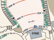 This diagram shows where current disabled seating is located at Red Rocks Amphitheatre.
