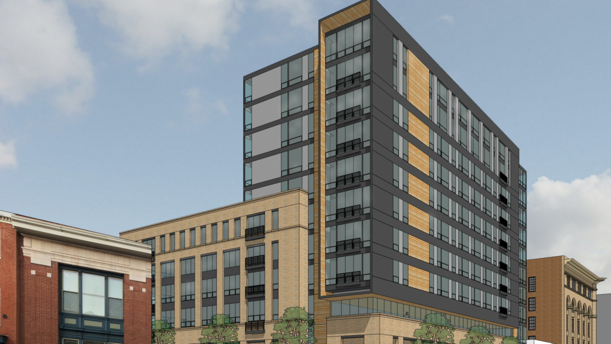 Developer plans 12 story apartment retail building near for Retail apartment plans