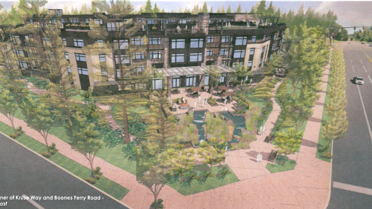 A rendering submitted to the city of Lake Oswego last year shows what The Springs at Lake Oswego will look like at the corner of Boones Ferry and Kruse Way, one of the last prime development properties in the city.