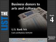 4: U.S. Bank NA  The full list of the top Portland-area business donors to arts and culture - including contact information - is available to PBJ subscribers.  Not a subscriber? Sign up for a free 4-week trial subscription to view this list and more today