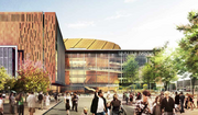 A rendering shows the main plaza from Occidental Avenue South, as imagined in the latest design of the Sodo arena.