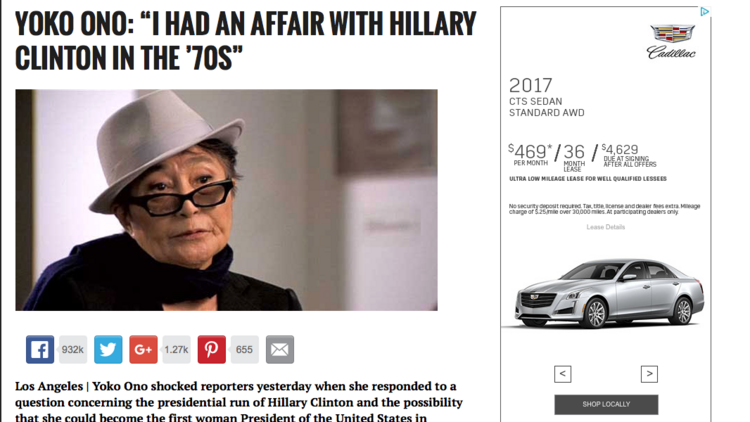 Cadillac advertises next to a phony story on fake news site World News Daily Report.