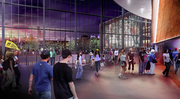 This rendering shows the arena's main lobby on the north side of the building, as planned in the latest design of the Sodo basketball arena for Seattle.