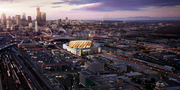This is a rendering of the view of the Sodo basketball arena from the south, looking north toward downtown Seattle.