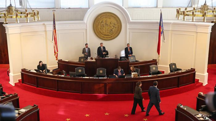 N.C. senators discuss the proposed bill during a recess in the HB2 special session.
