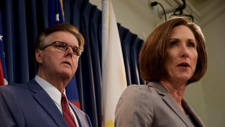 "Lt. Gov. Dan Patrick, left, and Sen. Lois Kolkhorst discuss Senate Bill 6, the original ""bathroom bill,"" during a Jan. 5 press conference. It failed to pass during the regular session."