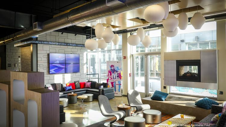 The new Aloft Louisville East features a bar area called the WXYZ lounge.