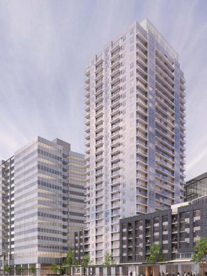 The Washington State Convention Center addition comes with two private development opportunities. The center will sell a site for an apartment tower, shown here on the right, and an office building, on the left. The 11-story convention center addition is shown in the background. Construction of the addition is scheduled to start this fall.