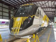 The new Brightline train on display at the West Palm Beach Brightline facility.