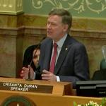 Text: Colorado Gov. <strong>John</strong> Hickenlooper's State of the State address