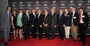 From left, Executive Producer Jules Naudet; TLC General Manager Nancy Daniels; Group President Discovery & TLC Networks Eileen O'Neill; Executive Producer Chris Whipple; White House Chiefs of Staff Josh Bolten, Jim Jones, John Sununu, Jack Watson and Ken Duberstein; Discovery Channel President and CEO David Zaslav; Producer David Hume Kennerly; and Executive Producer Gedeon Naudet.