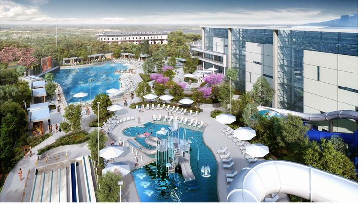This rendering, contained in a construction bid document obtained by the Nashville Business Journal, depicts what a proposed indoor/outdoor water park connected to Gaylord Opryland Resort could look like.