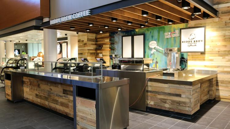 The new Buddy Brew Coffee cafe at Tampa International Airport.