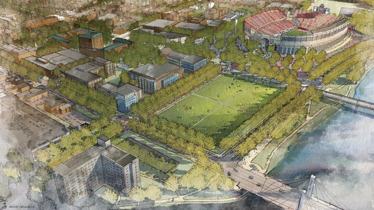 Views of what the Ohio State campus could look like under the university's Framework 2.0 plan.