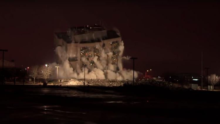 Formerly occupied by CenturyLink, this 10-story office tower in Overland Park was imploded at about 5 a.m. Sunday.