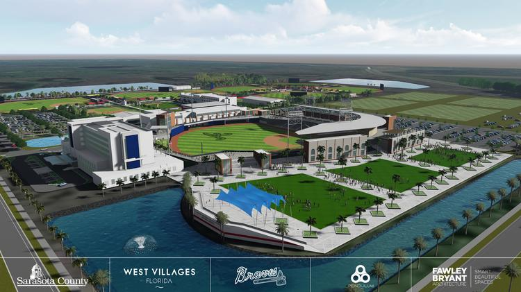 Rendering of the Atlanta Braves' proposed new spring training complex in  Sarasota, ...