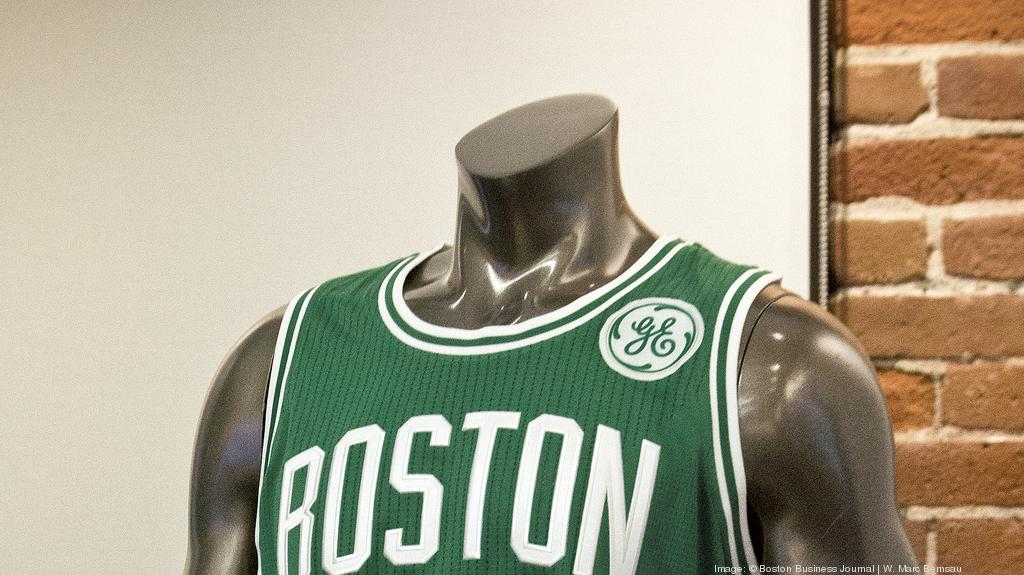 half off c5d04 8bf22 Boston Celtics said to be looking to replace GE logo patch ...