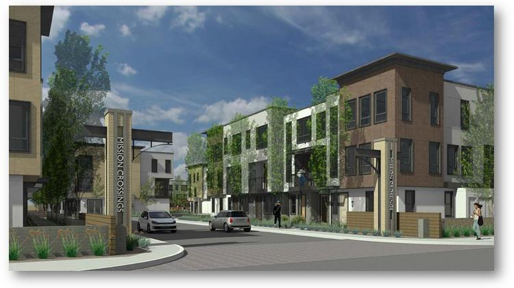 A rendering of the Mission Crossings hotel and townhome project proposed in Hayward