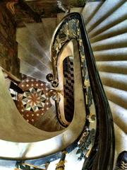 Ornate marble staircase at the mansion