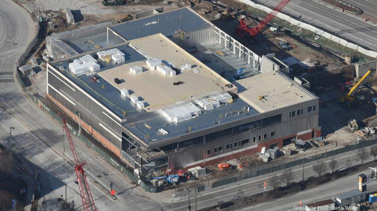 Construction continues on the Milwaukee Bucks practice facility, which is located near the new arena being built in downtown Milwaukee.
