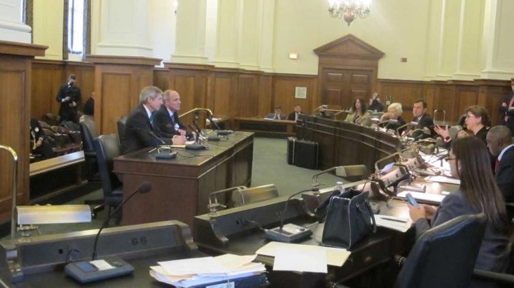 FieldTurf Eric Daliere testifies at Senate committee hearing.