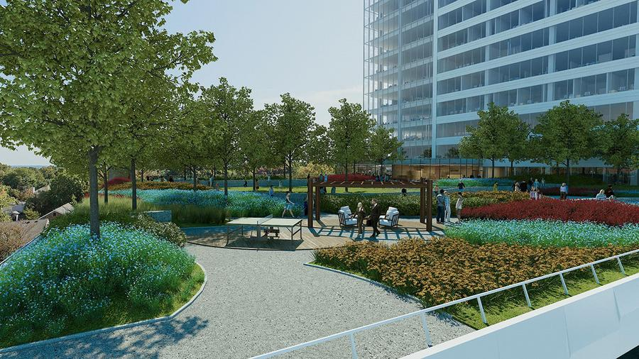 7th floor landscaped, outdoor plaza looking southeast