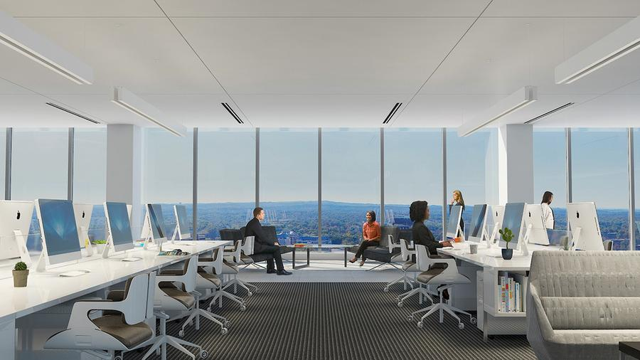 10' high ceiling heights with floor-to-ceiling windows
