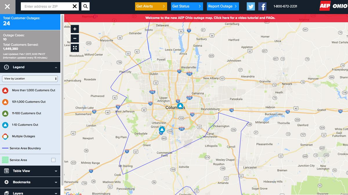 How do I find out where the power is out? AEP puts information